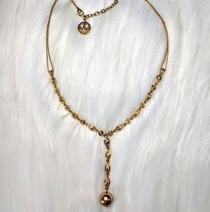 Trifari Jewelry - Trifari Gold Crystal & Pearl Drop Necklace